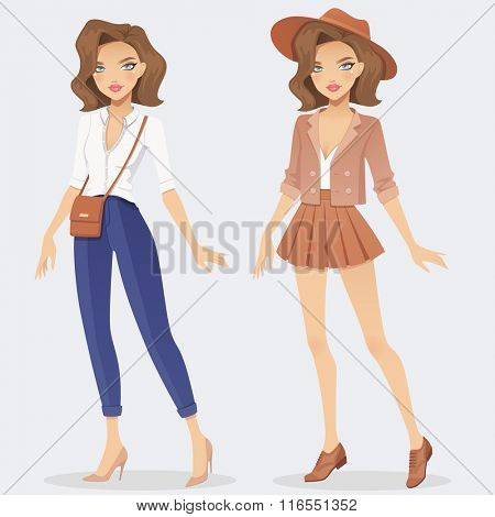 Cartoon fashion girl character wearing two casual outfits. Vector female illustration.