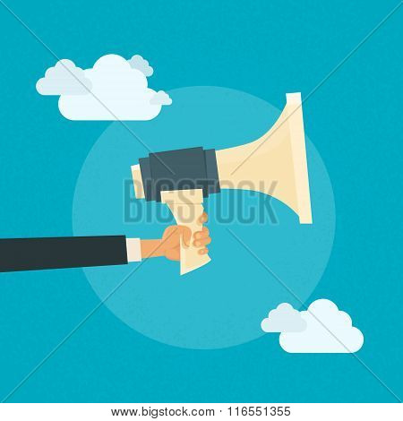 Hand Hold Megaphone Business Concept Cloud
