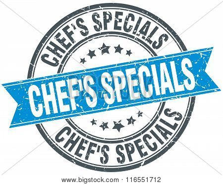 Chef's Specials Blue Round Grunge Vintage Ribbon Stamp