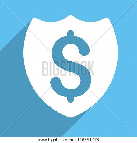 Bank Insurance Long Shadow Square Flat Icon