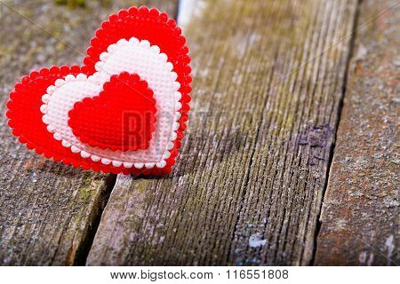 Red-white Textile Heart On Old Gray Boards