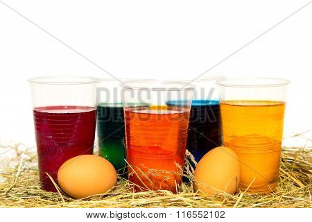 Eggs And Cups With Dye