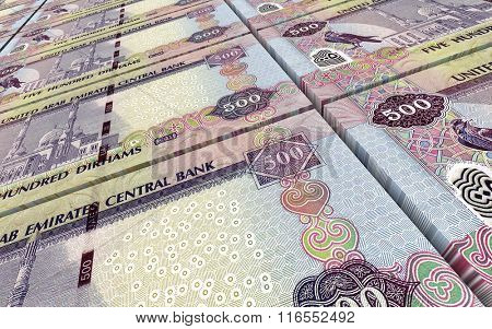 United Arab Emirates dirhams bills stacks background. Computer generated 3D photo rendering.