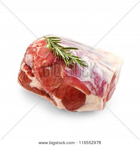 Raw Lamb Leg With Rosemary Twig