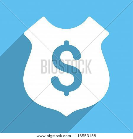 Financial Shield Long Shadow Square Icon
