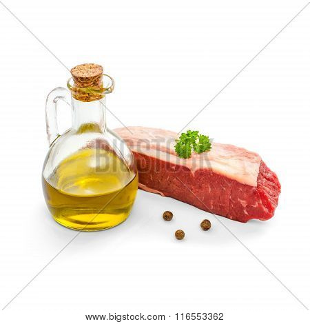 Raw Rump Steak With Olive Oil Isolated