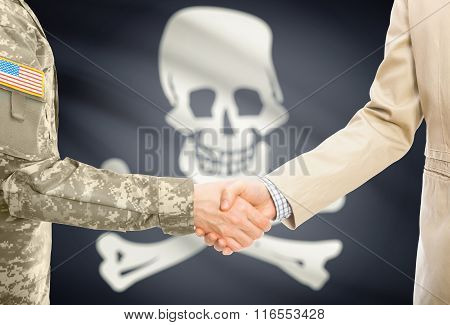 Usa Military Man In Uniform And Civil Man In Suit Shaking Hands With Flag On Background - Jolly Roge