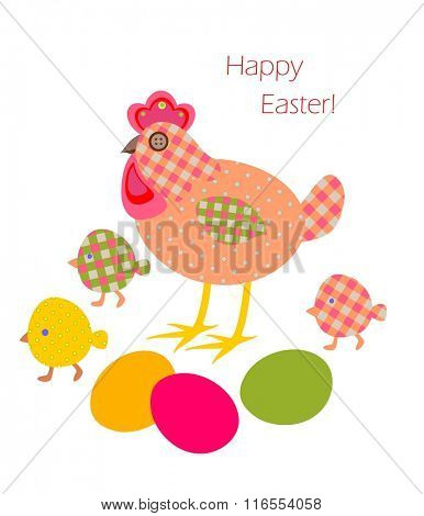 Funny easter applique with hen, eggs and chicken