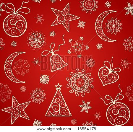 Red wallpaper for winter holiday with lacy golden baubles