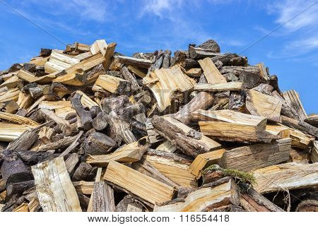Big Heap Of Chopped Tree Trunks For Burning Wood