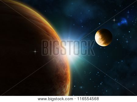 Night sky background with fictional planets, nebula and stars