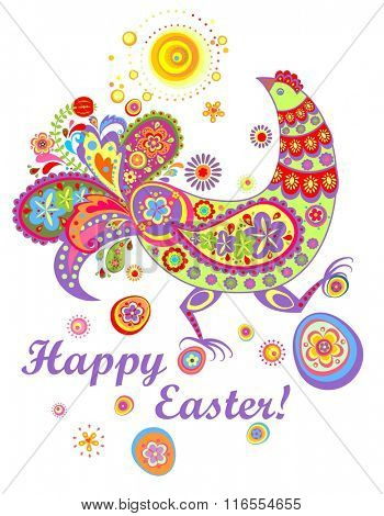Easter card with funny decorative hen