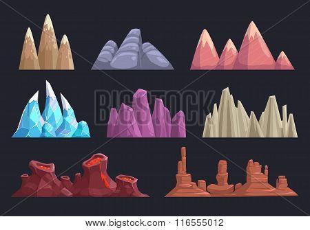 Cartoon rocks and mountains set