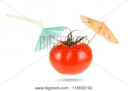 Concept Diet And Healthy Vegetable Eating. Tomato Juice