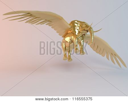 Golden 3D flying elephant inside a stage with high render quality