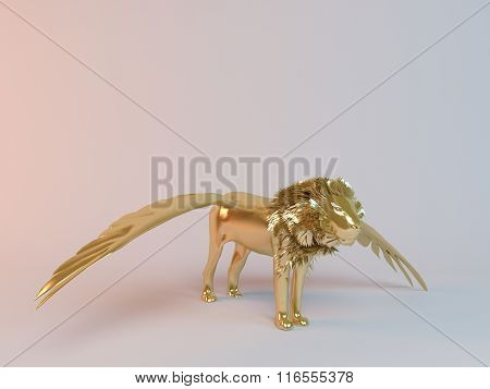 Golden 3D flying lion inside a stage with high render quality