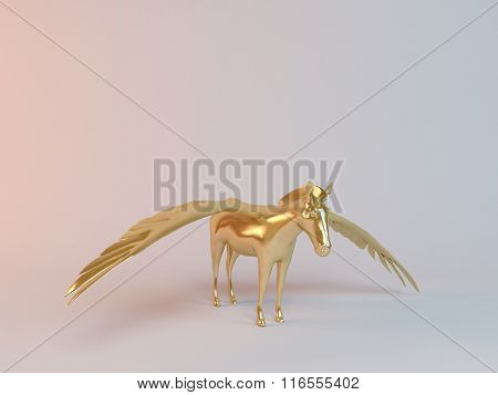Golden 3D flying horse inside a stage with high render quality