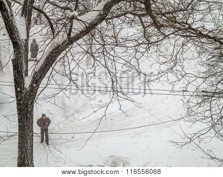 Odessa, Ukraine - January 18, 2016: A Powerful Cyclone, Storm, Heavy Snow Paralyzed The City. People