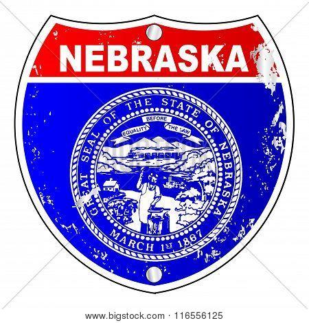 Nebraska Flag Icons As Interstate Sign