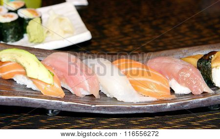 Sushi with fish and meat