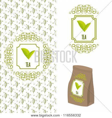 Green Tea Logo Branding Concept.