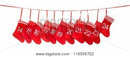Advent Calendar 14-24. Red Christmas Stocking Decoration