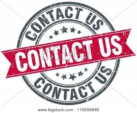 contact us red round grunge vintage ribbon stamp