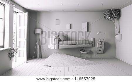 bizarre white interior. 3d rendering concept