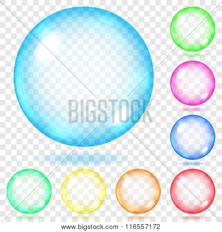 Multicolored Transparent Glass Spheres. Transparency Only In Vector File