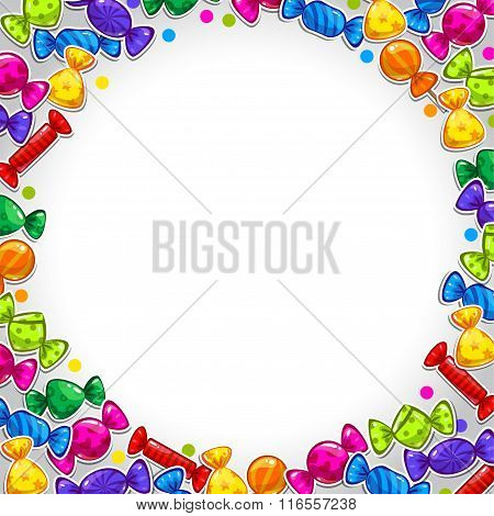 Abstract background with colorful candy stickers