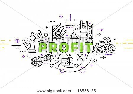 Flat Style, Thin Line Art Design. Set of application development, web site coding, information and mobile technologies vector icons and elements. Modern concept vectors collection. Profit Concept