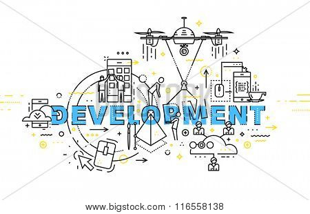 Flat Style, Thin Line Art Design. Set of application development, web site coding, information and mobile technologies vector icons and elements. Modern concept vectors collection. Development Concept