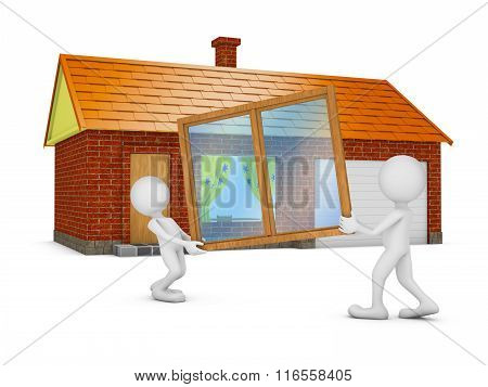Two People  Holding A Window