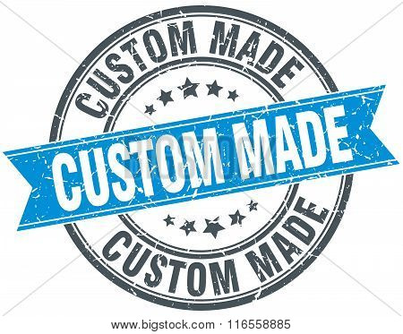 Custom Made Blue Round Grunge Vintage Ribbon Stamp