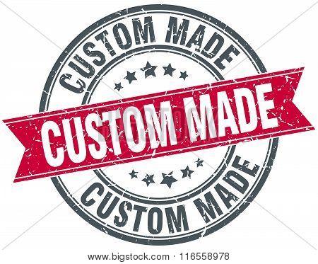 Custom Made Red Round Grunge Vintage Ribbon Stamp