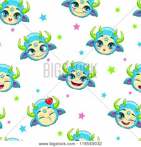 Seamless pattern with funny blue monster faces
