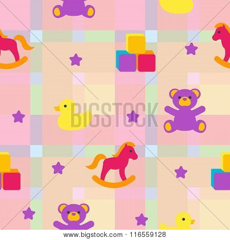 Seamless Pattern With Children's Toys