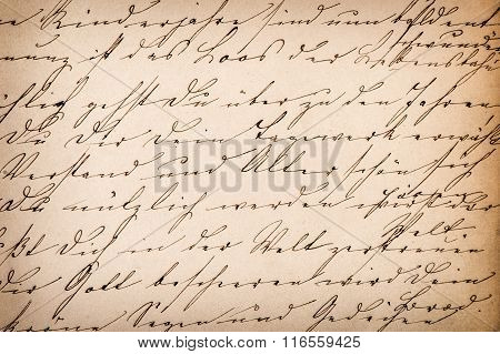 Old undefined abstract handwritten text. Grunge vintage paper texture background