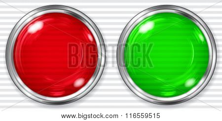 Big Red And Green Transparent Buttons