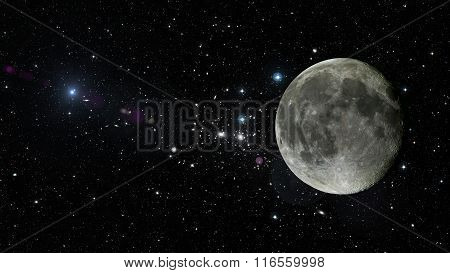 Planet Moon In Outer Space. Elements Of This Image Furnished By Nasa