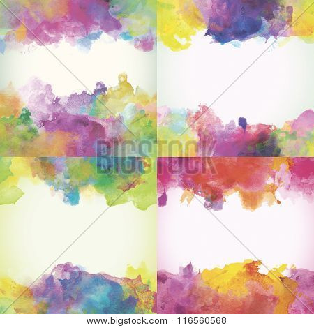 Beautiful Paper Watercolor Backdrops With Colorful Blobs And Place For Text.