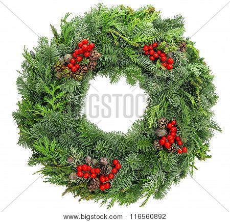 Christmas Wreath Fir, Pine, Spruce Twigs With Cones Red Berries