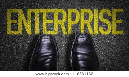 Top View of Business Shoes on the floor with the text: Enterprise