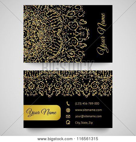 Business card template, golden pattern on black background