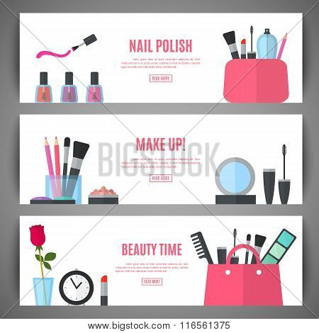 Beauty banner design. Cosmetic accessories for make-up
