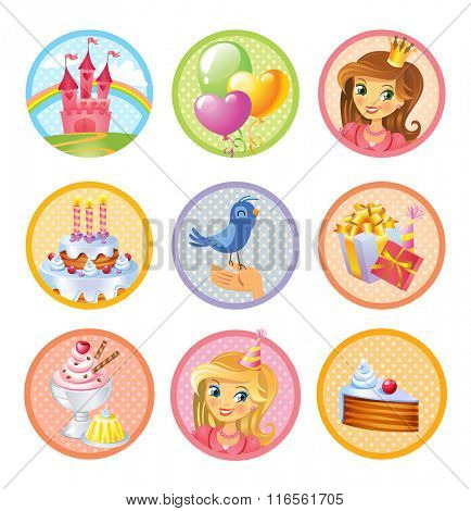 Cute birthday stickers  for a party in style of the fairy tale castle of the princess
