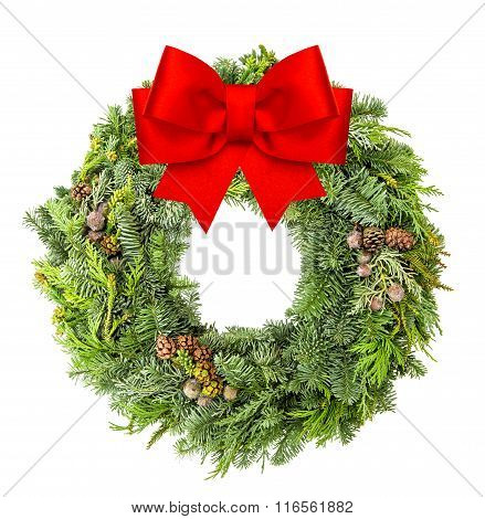 Christmas Wreath From Fir, Pine And Spruce Red Ribbon Bow