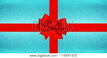 Red Ribbon Bow Over Shiny Ice Blue Texture. Holidays Gift Card