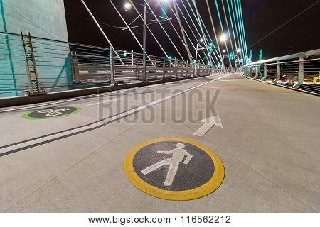 Cyclist And Pedestrian Lanes On Tilikum Crossing Bridge
