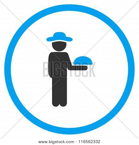 Human Figure Waiter Rounded Icon
